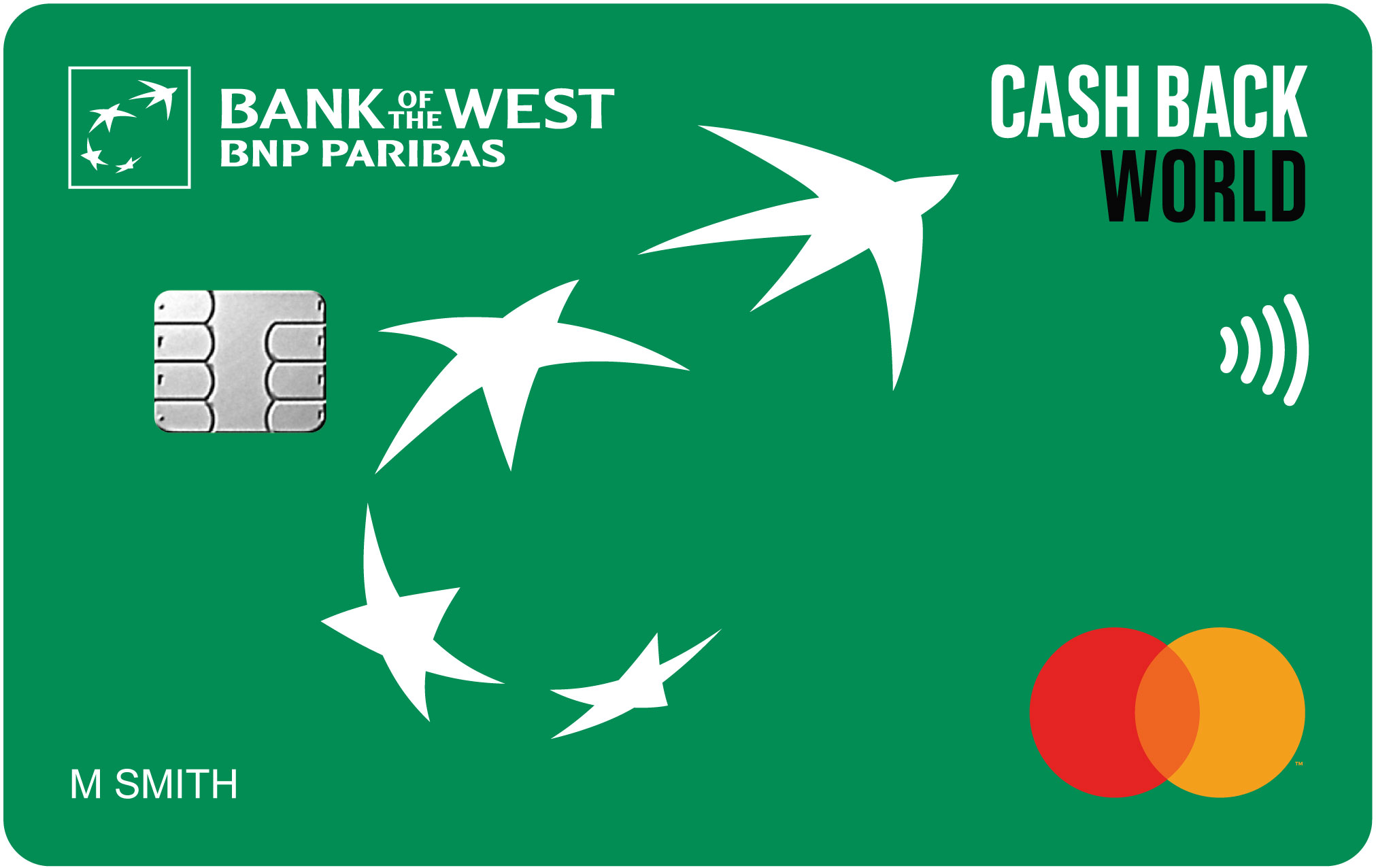 Image of a green cash back world credit card